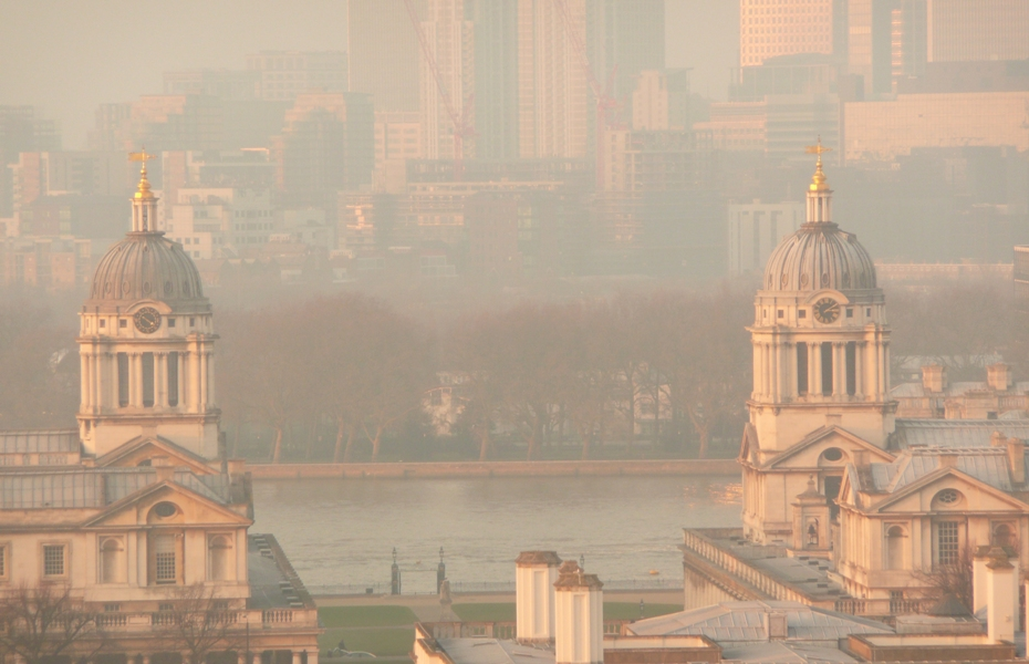 Canary Wharf seen from Greenwich hill