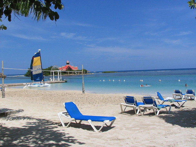 Blue lounge chair on Montego Bay beach