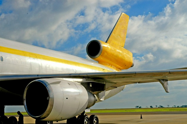 Yellow plane fuselage